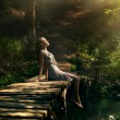 Beautiful girl in fairy forest — Foto de Stock