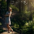 Beautiful girl in fairy forest — Stok fotoğraf