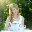 Beautiful woman drinking tea — Stock Photo