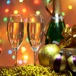 Stok fotoğraf: Glasses of champagne with gift box