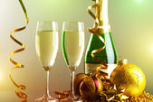 Glasses of champagne. background of lights — Stock Photo