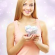 Beautiful girl with gift box — Stok fotoğraf #6869835