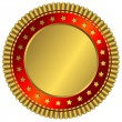 Golden plate with red ring — Stock Vector #1059277