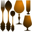 Cutlery golden set — Stock Vector