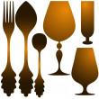 Cutlery golden set — Stock Vector