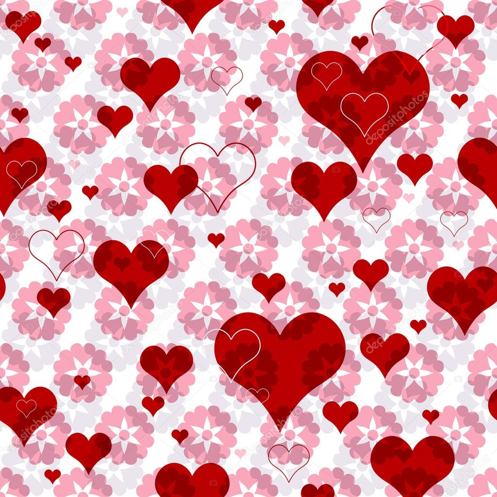 Seamless valentine pattern with pink flowers and vivid red hearts (vector EPS 10) — Stock Vector #12681461