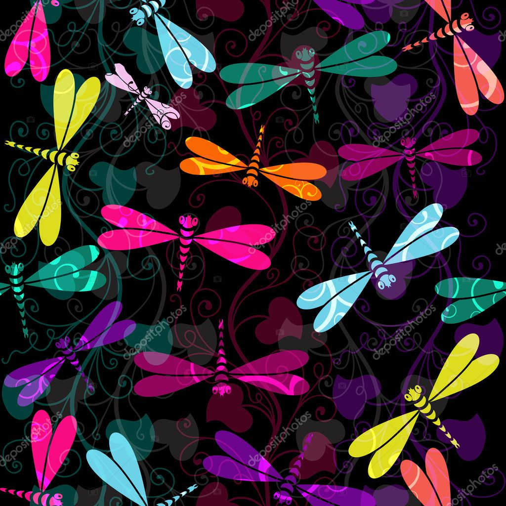 Seamless dark pattern with colorful dragonflies and translucent vintage curls (vector EPS 10)  Stock Vector #12808951