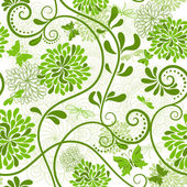 Green-white floral pattern — Stock Vector
