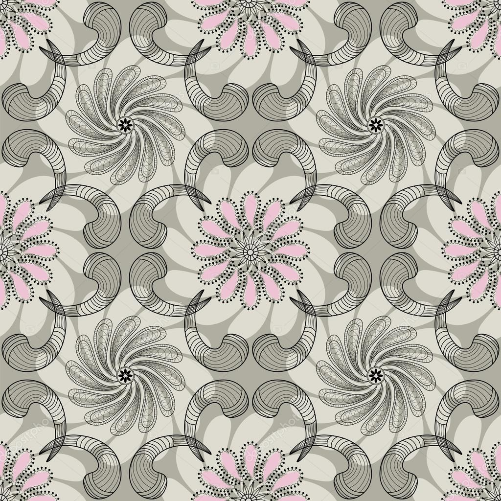 Gray-pink floral seamless pattern with lace flowers and curls (vector)  Stock Vector #13595794