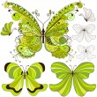 Set green vintage butterflies — Stock Vector