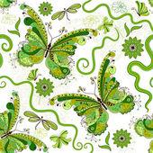 Teste padrão floral branco-verde — Vetor de Stock
