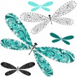 Set lace vintage dragonflies — Stock Vector