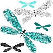 Set lace vintage dragonflies — Stock Vector