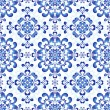 Stock Vector: White-blue gzhel seamless pattern