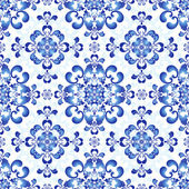 White-blue gzhel seamless pattern — Stock Vector
