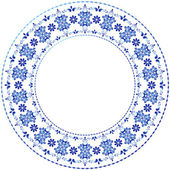 White-blue decorative gzhel frame — Stockvector