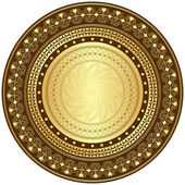Gold and brown round frame — Stock Vector