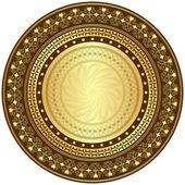 Quadro redondo ouro e marrom — Vetor de Stock