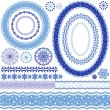 White-blue decorative frame and patterns — Imagen vectorial