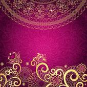 Ročník zlaté fialový rám — Stock vektor