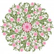 Vintage floral round pattern — Stock Vector