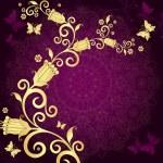 Vintage gold-violet frame — Stock Vector #14346597