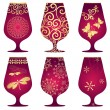 Set of purple Christmas glasses — Stock Vector