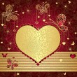 Royalty-Free Stock Vector Image: Gold and red valentine frame