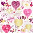 Seamless motley valentine pattern - Stock Vector