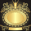 Vintage gold oval frame - Stock Vector