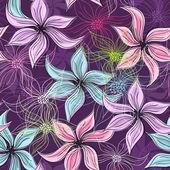 Repeating violet floral pattern — Stockvektor