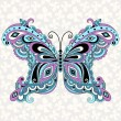 Decorative fantasy vintage butterfly - Stock Vector