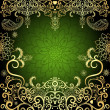 Green-gold vintage floral frame - Stock Vector