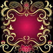 Purple-gold vintage valentine frame — Stock Vector
