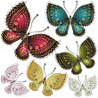 Set fantasy vintage butterfly — Vector de stock  #22755898