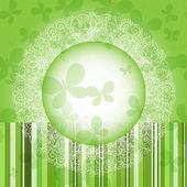 Grön spring runda blommor ram — Stockvektor