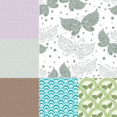 Collection seamless pastel patterns — Stock Vector