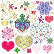 Set colorful design elements with hearts — Stock Vector