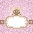 Stock Vector: Spring pink-gold easter frame