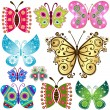 Set fantasy butterflies — Stock Vector