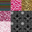 collection seamless colorful patterns — Stock Vector