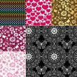 Collection seamless colorful patterns — Imagen vectorial