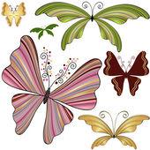 Set fantasy striped butterflies — Stock Vector