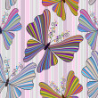 Striped seamless pattern with butterflies — ベクター素材ストック