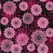 Dark seamless pattern with pink flowers — Stock Vector