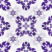 White seamless pattern with violet flowers — Stock Vector