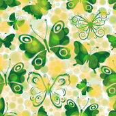 Spotty spring seamless pattern with green butterflies — Stock Vector