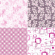 Set seamless vintage pink pattern — Stock Vector