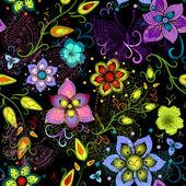 Preto sem costura padrão floral com borboletas transparentes — Vetor de Stock
