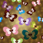 Seamless pattern with green butterflies — Stock Vector